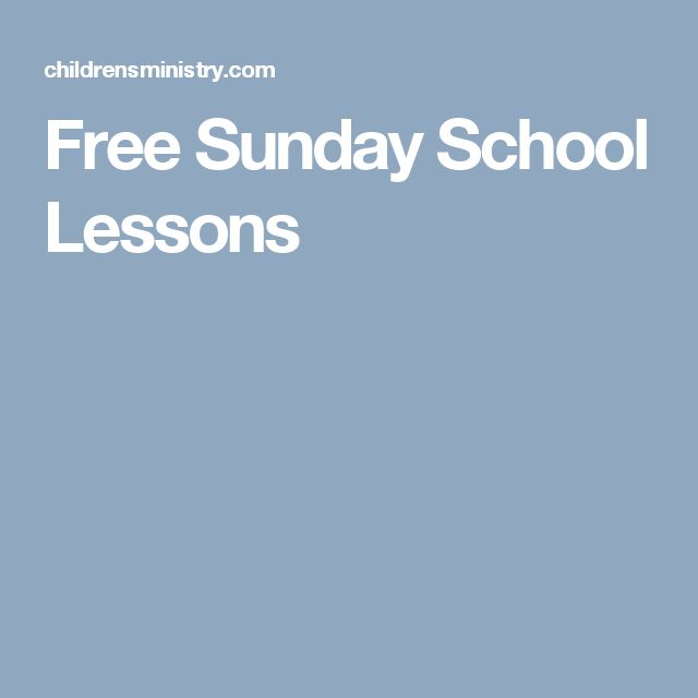 Free Sunday School Lessons
