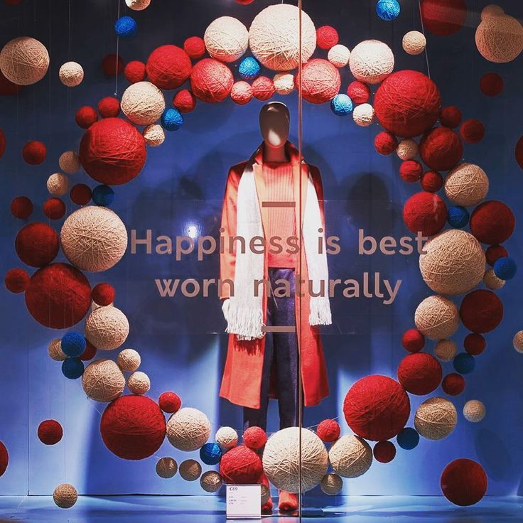 """MARKS & SPENCER, London, UK, """"Happiness is best worn naturally"""", (More than 9,500 hand-produced balls using 250m of wool), words/photo by Retail Focus, pinned by Ton van der Veer"""