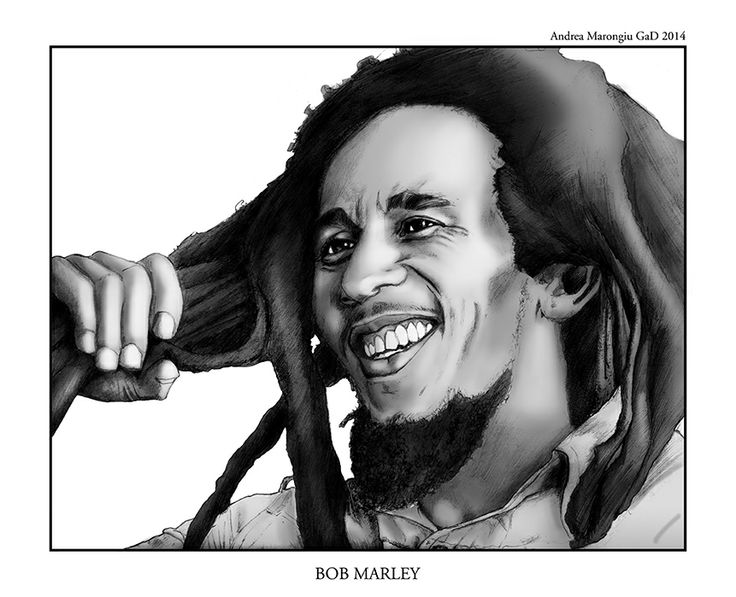 #Bob #Marley;  #portrait #illustration created by #AndreaMarongiu, #pencils on paper and #digital #painting on #grayscale commissioned by local #Boteco in #Bologna. #drawing #draw #illustration #pencil #digitalpainting #reggae #music #art