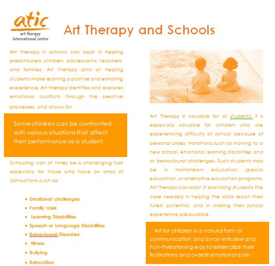 Art Therapy and Schools. The full brochure is available for free.