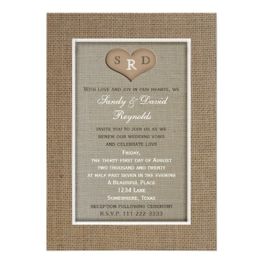 Wedding Vow Renewal Rustic Burlap Frame With Heart Invitation