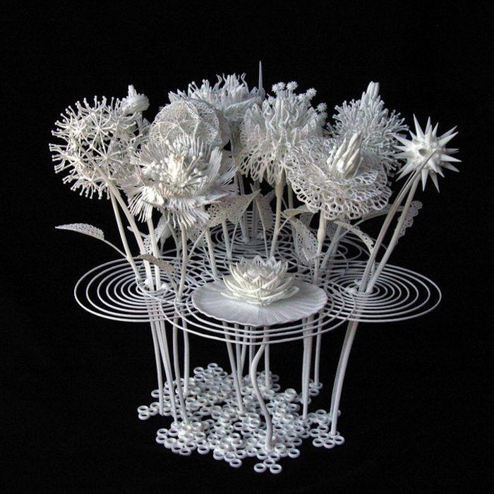 3D-скульптура: белоснежный букет, напечатанный на принтере. (6 фото)