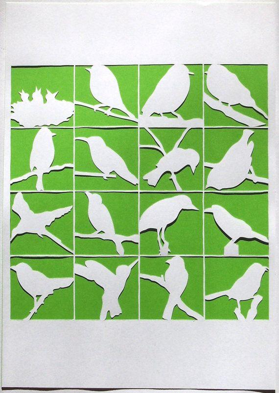 Petite collection d'oiseaux, papier découpé