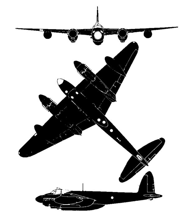 Silhouette of the de Havilland Mosquito PR34 (a late photo ...