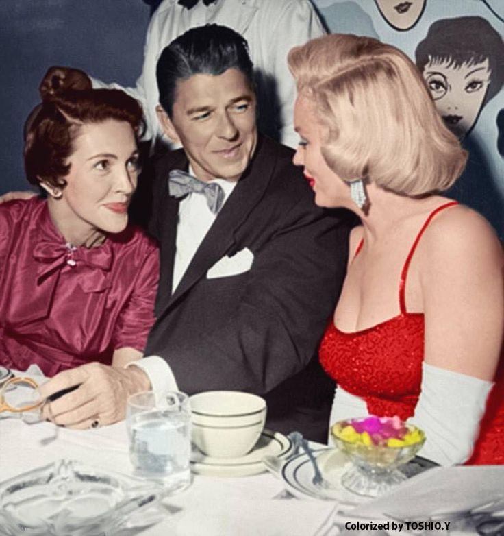 Marilyn Monroe with Nancy and Ronald Reagan at Charles Coburn's birthday party, 1953