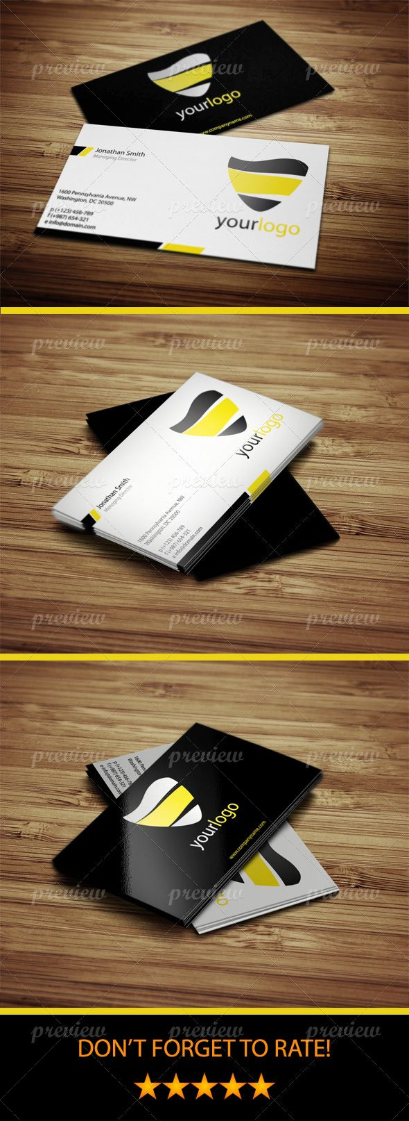 28 best premium business cards images on pinterest card designs clean simple business cards design using black white and yellow color scheme and magicingreecefo Gallery