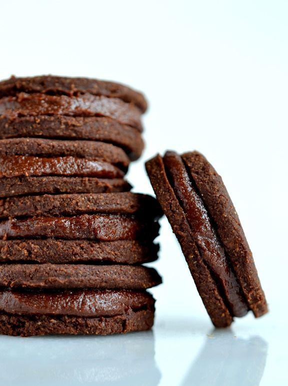 Raw Chocolate-Maca Sandwich Cookies