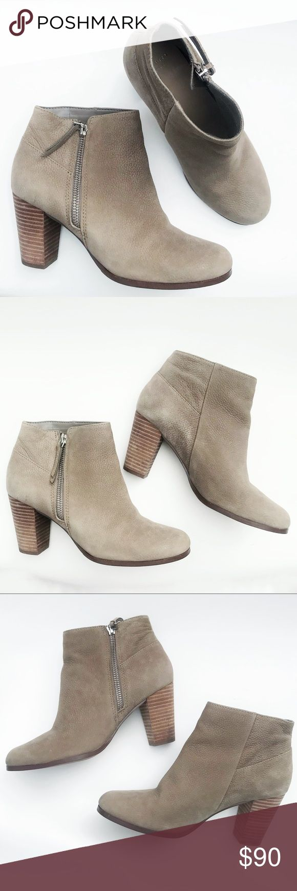 """COLE HAAN Taupe Pebbled Leather Ankle Boots, 6.5 DESCRIPTIONS: COLE HAAN Taupe Pebbled Leather Ankle Boots, Women's 6.5 - Taupe pebbled Leather - Grand os  - Ankle Boots - Side zipper closure - Wooden stack heel - Leather upper - Balance man made  MEASUREMENTS: - 3"""" Heel - 5"""" Shaft  CONDITIONS:  - Great condition Cole Haan Shoes Ankle Boots & Booties"""