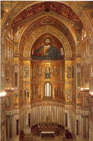 interior cathedral monreale sicily italy the brilliantly