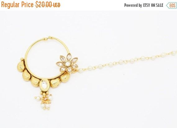 ON SALE Vintage Indian Diamante Nath Nose Ring Nose by Glimour