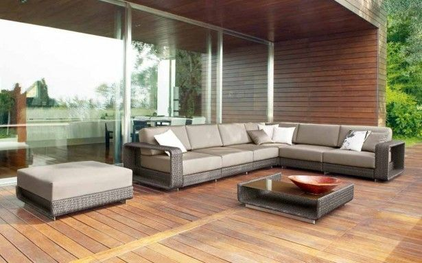 Furniture Outdoor Patio Wicker Rattan Sofa Set Battleship Gray Sectional Cushions Platinum Wooden Floor Home Decor Wood Wide Glass Window Make Beautiful Your or Apartment with