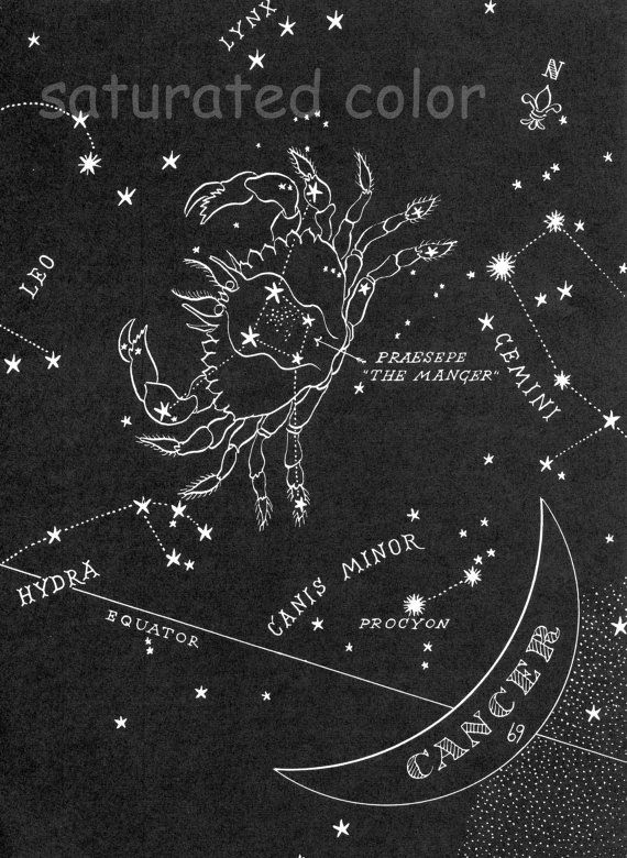 Cancer Night Sky Star Chart Map - Zodiac Constellation Stars  from 1948 Astronomy Textbook - Cancer the Crab Star Map