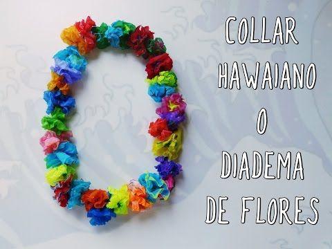 Collar hawaiano o diadema de flores para fiesta DIY - YouTube