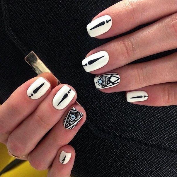 Beautiful nails 2016, Beautiful patterns on nails, Black and white nail ideas…