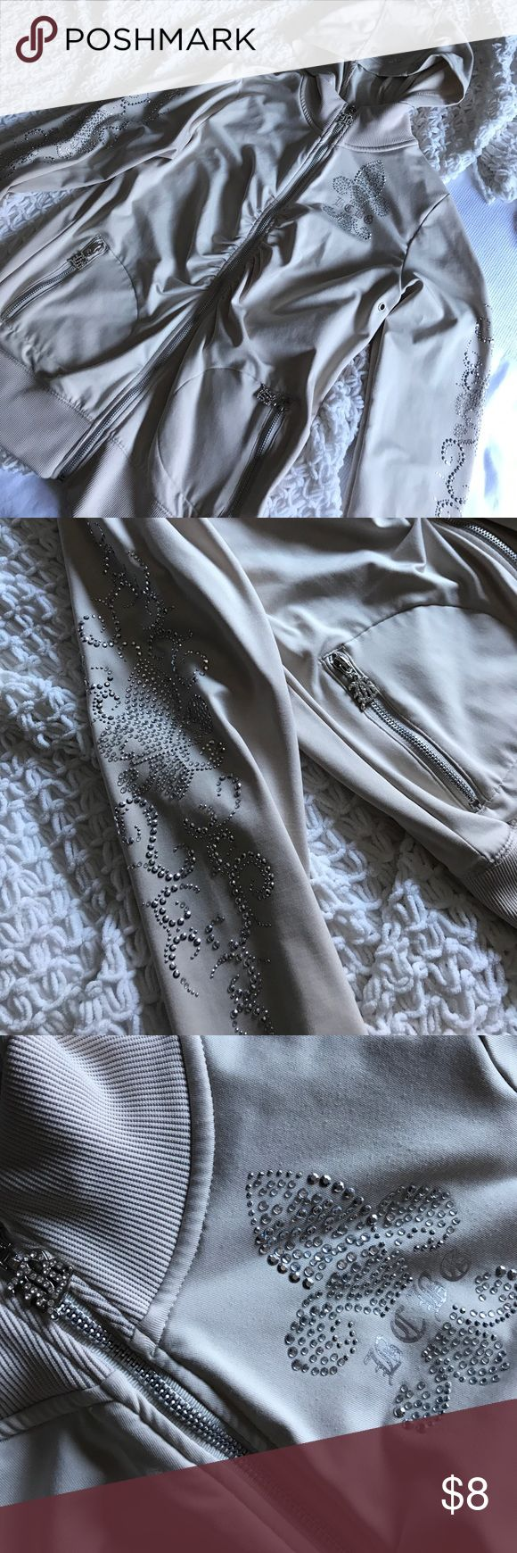BCBG zip up embellished hoodie. Like new. Embellished BCBG MAXAZERIA hoodie. Wore once, still in brand new condition. Cream/taupe color BCBGMaxAzria Tops Sweatshirts & Hoodies