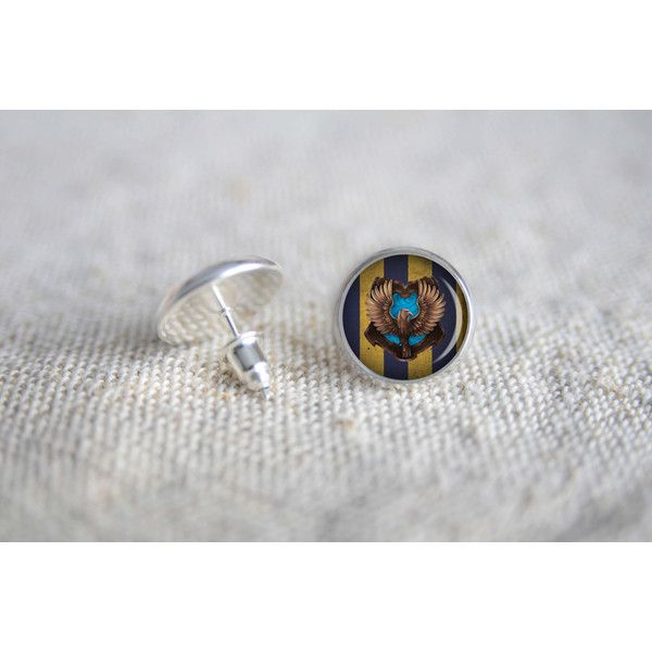 Harry Potter Ravenclaw tiny stud silver earrings MST-47 - Gamers post... ($9) ❤ liked on Polyvore featuring jewelry, earrings, nickel free earrings, nickel free stud earrings, bezel earrings, handcrafted silver earrings and nickel free silver earrings