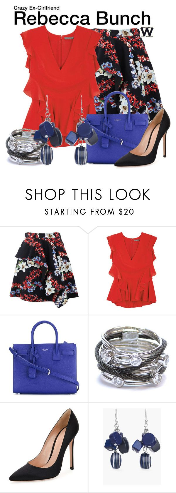 """Crazy Ex-Girlfriend"" by wearwhatyouwatch ❤ liked on Polyvore featuring MSGM, Alexander McQueen, Yves Saint Laurent, Charriol, Gianvito Rossi, Chico's, television and wearwhatyouwatch"