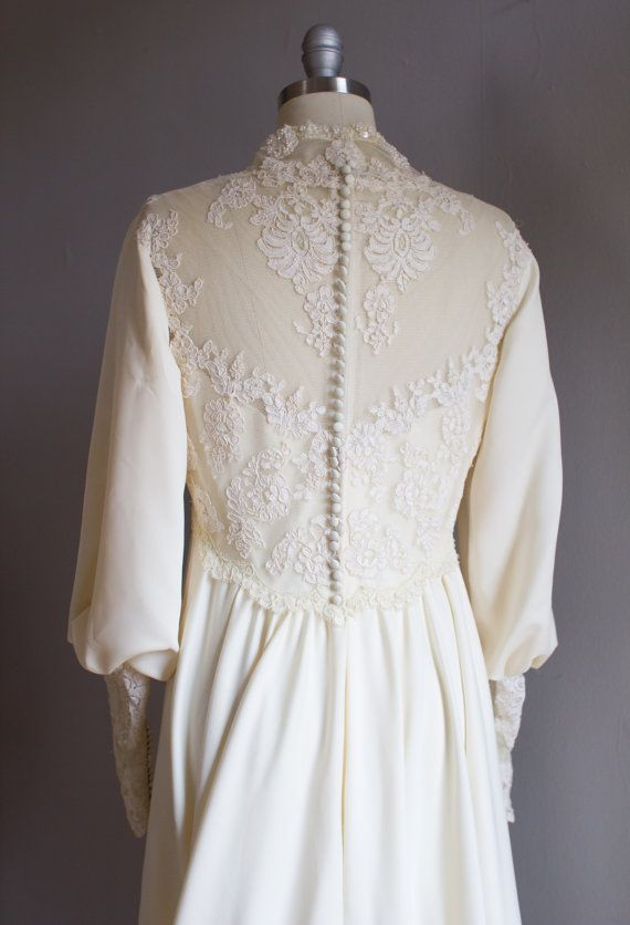 Priscilla of Boston Ivory Lace Wedding Gown / 1970's / Sheer back / Bishop sleeves / Empire Waist / Size L Large
