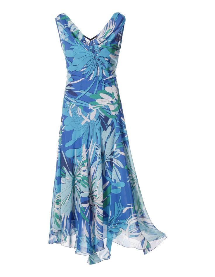 Kleid mit Wasserfallausschnitt in der Farbe royal / türkis / weiß ...