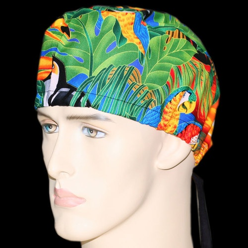 Shown: Colorful Toucans. Custom made novelty caps unisex various prints for chefs, bikers, or persons in the medical field. Starting at $7.99