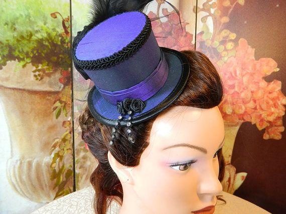 Minihat purple black suede Gothic Burlesque clubbing Hat Millinery Tophat romantic victorian Steampunk Larping Wedding