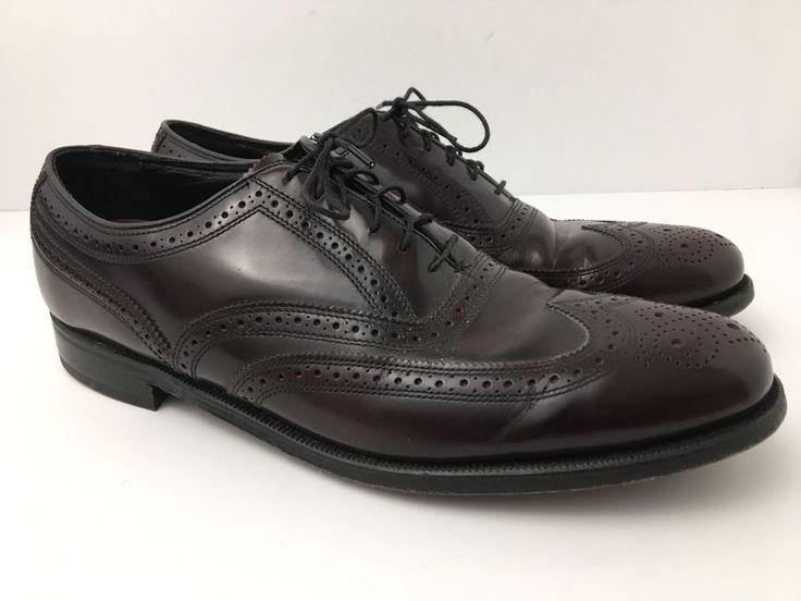 Florsheim Wingtip Brogue Shoes Oxford Lace Up Burgundy Men's US 11 Excellent #Florsheim #Oxfords