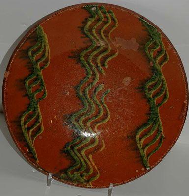 slip decorated redware dish circa 1840 ct or long island