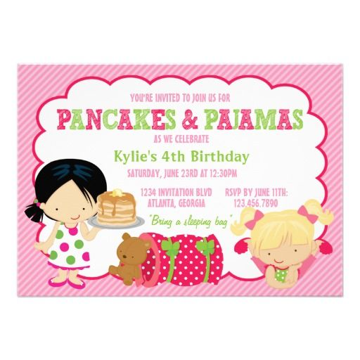 183 best Girls Pajama Party Invitations images – Almost Sleepover Party Invitations