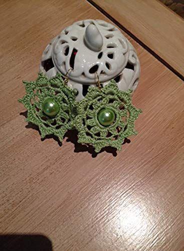 Orecchini Uncinetto A Ruota Verde Cotone Amazonit Handmade