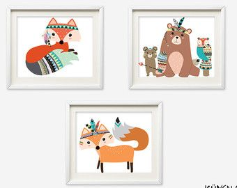 Woodland Wand Kunst Waldland Kinderzimmer Kunst von KuyenFox