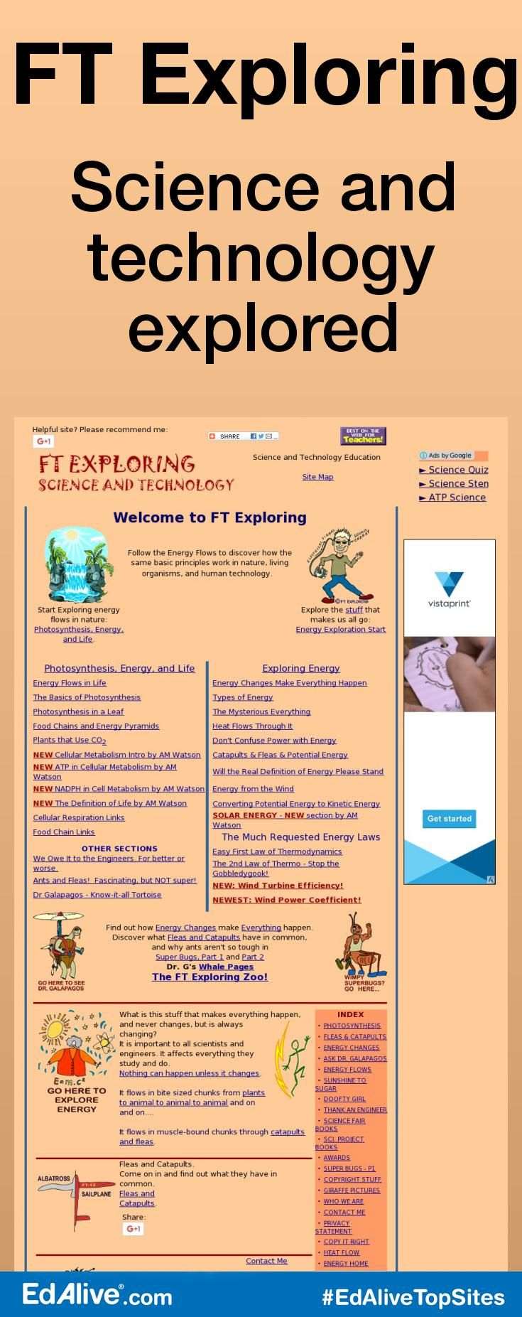 Science and technology explored | Provides teachers with lesson plans and other resources related to energy, including activities related to photosynthesis. #Science #EdAliveTopSites