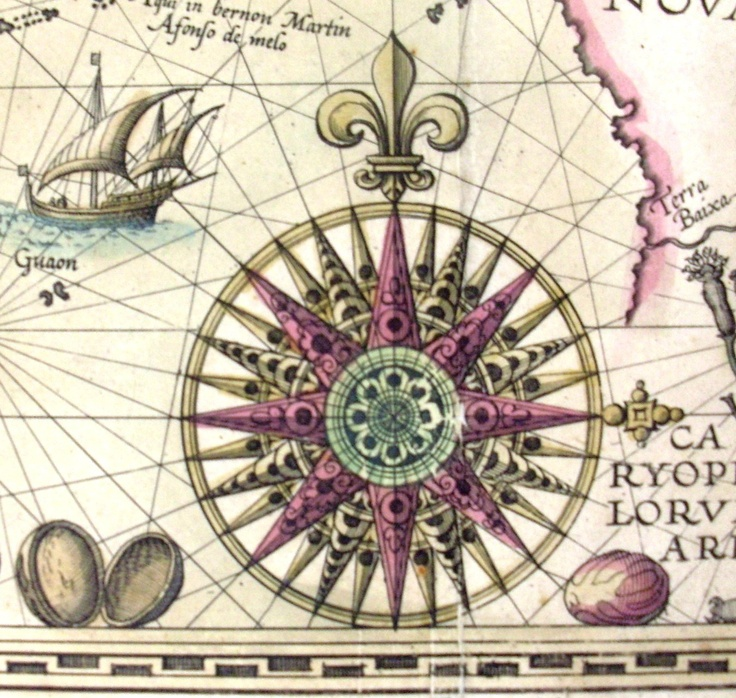 """This """"compass rose"""" is detail from the map: Insulae Moluccae celeberrimae sunt ob maximam aromatum copiam quam per totum terrarum orbem mittunt by C. J. Visscher excudebat Anno 1617.    Find more detailed information about this photograph:      http://library.sl.nsw.gov.au/record=b2056881  From the collection of the State Library of New South Wales http://www.sl.nsw.gov.au"""