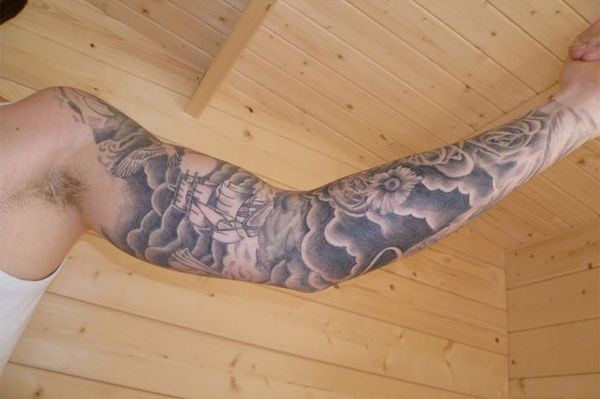 Full Sleeve Cloud Tattoo Design Ideas