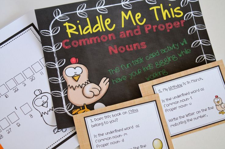My new Riddle Me This common and proper noun task cards! Task cards that encourage your students to solve a riddle by finding the answers to the task cards.