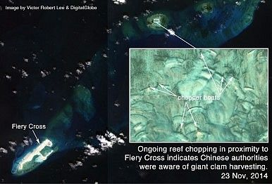 Reef chopping near Fiery Cross Reef, Spratlys, South China Sea.