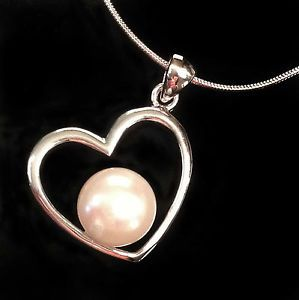 Love Heart Freshwater Cultured Pearl Heart Necklace with sterling silver chain www.facebook.com/apassionforpearls