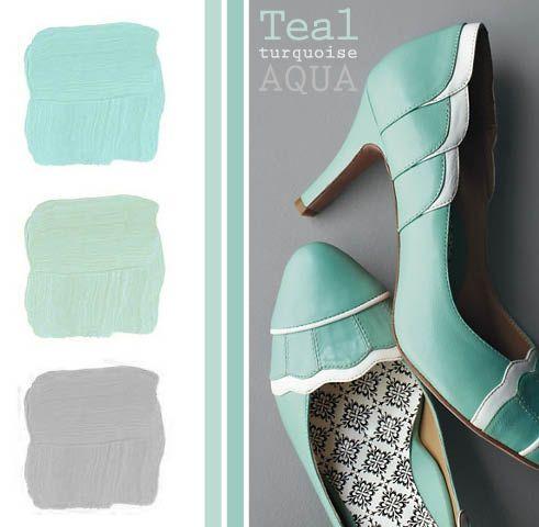 #teal #style #colors #palette #shoes #heels #kitten #gray #turquoise: Ocean Colors, Colors Combos, Aqua Shoes, Gray Palette, Gray Colors Schemes, Grey Teal Colors Schemes, Turquoise Colors Schemes, Colors Palettes Turquoi Gray, Colors 3