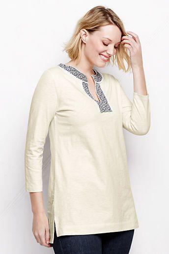 Lands' End Women's Plus Size 3/4-sleeve Starfish Applique Tunic Top on shopstyle.com.au