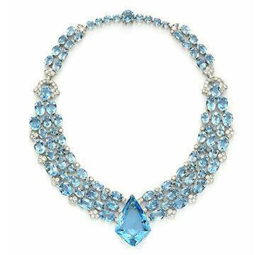 An Art Deco Aquamarine and Diamond Necklace, circa 1938. Via FD Gallery, www.fd-inspired.com