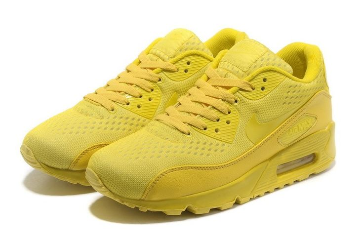 Men's/Women's Nike Air Max 90 PRM EM Running Shoes(All Yellow) Cheap Sale Uk