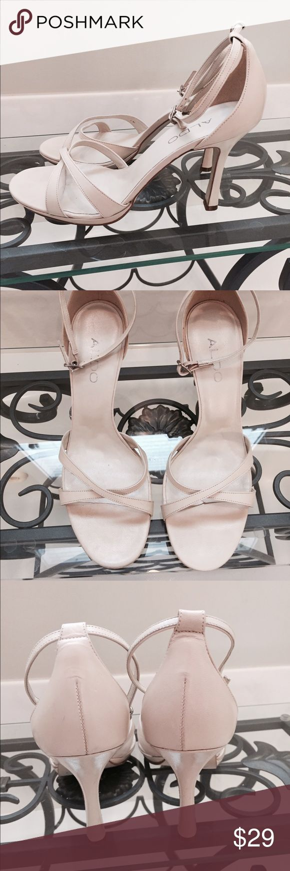 Aldo cream strappy heels 39 great condition! only show wear on soles. Only worn a few times.  Ankle strap ALDO Shoes Sandals