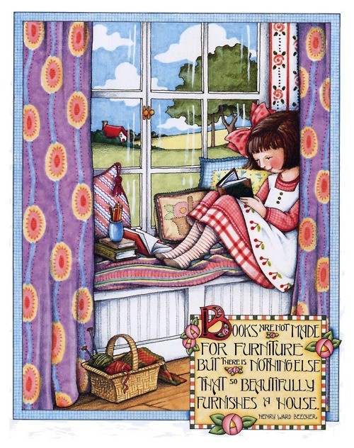 Mary Engelbreit. margebazemore: Mary Englebreit, Maryenglebreit, The Artists, Beautiful Furnishings, Angel Art Knits, Mary Engelbreit, House, Window Seats, Reading A Books