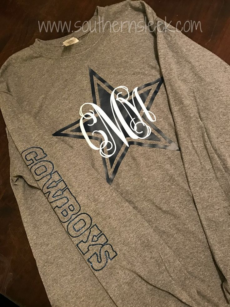 Monogrammed Dallas Cowboys themed shirt available in adult sizes. Monogram & wording on side done in glitter. Printed on a unisex Gildan t-shirt.   Wording on the sleeve will only be included on long sleeve shirts.   **Please note the order of initial monograms**   first initial, LAST INITIAL, middle initial   You MUST indicate which initial is which (sRd, s-first name, r-last name, d-middle name).   Please include monogram initials in the notes section during checkout.    Please see ou