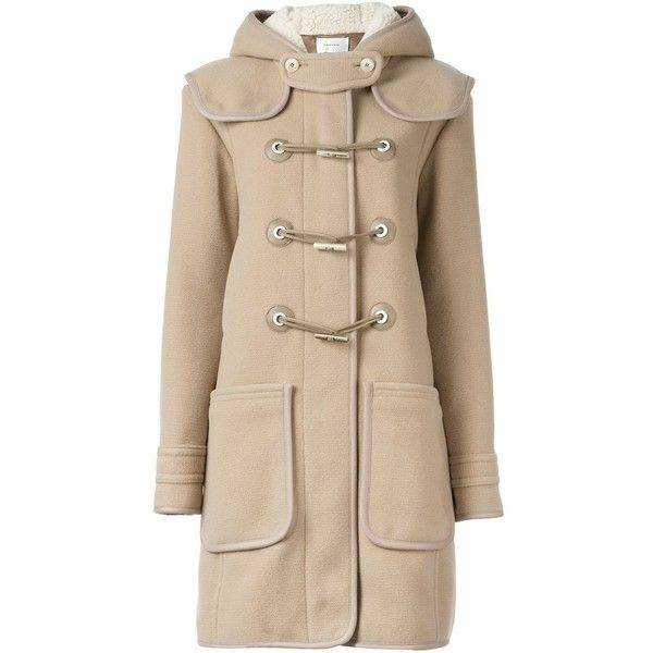 Carven toggle fastening duffle coat (19,165 HNL) ❤ liked on Polyvore featuring outerwear, coats, brown, toggle button coat, carven coat, duffle coats, toggle duffle coat and brown coat