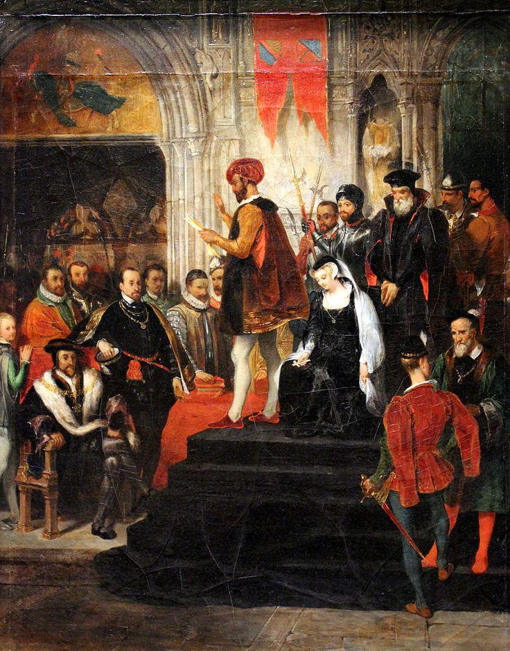 """Eugène Devéria:  """"La Lecture de la sentence de Marie Stuart"""",  1826,  oil on canvas, Dimensions:90 × 70 cm (35.4 × 27.6 in), Current location: Musée des Beaux-Arts d'Angers,"""