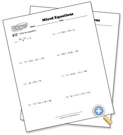 Mixed Problem Types Solving Multi-Step Equations Preview