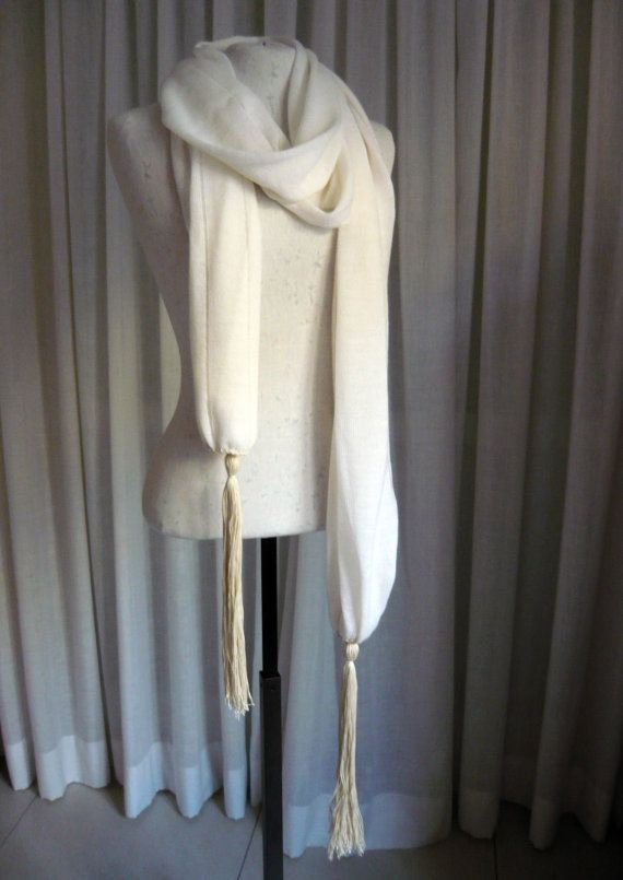 Ivory wool knit scarf/shawl/wrap with extra long tassels, light weight