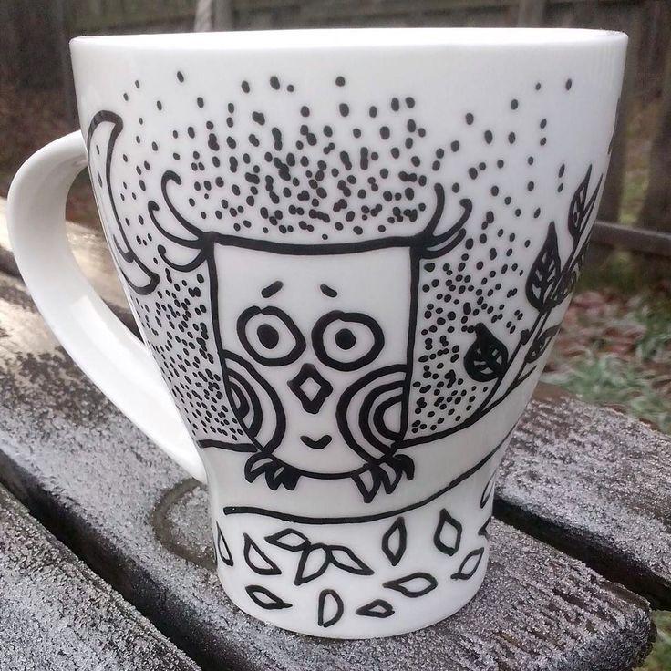 Hand painted mug with owl