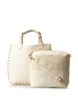 40% OFF Nila Anthony Women's Oversized Tote with Studs and Cross-Body Strap, White, One Size