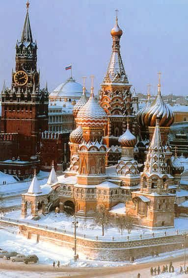 Moscow's Red Square in winter, RUSSIA. Very chilly, but not too cold for Ice Cream from a Street Vendor!
